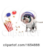 Funny Cartoon Space Dog On Mars With 3d Glasses And Popcorn 3d Illustration