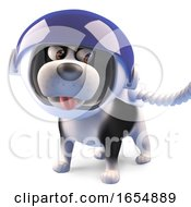 Poster, Art Print Of Cartoon Puppy Dog Wearing A Spacesuit And Helmet 3d Illustration