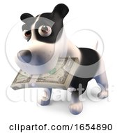 Poster, Art Print Of Funny Cartoon Puppy Dog Has A Wad Of Dollar Bills In His Mouth 3d Illustration