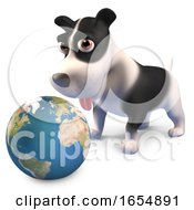 Poster, Art Print Of Cute Puppy Dog Looking At A Globe Of The Earth 3d Illustration