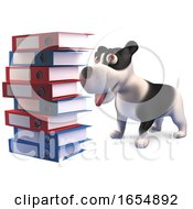 Poster, Art Print Of Cute Cartoon Puppy Dog Looking At A Huge Stack Of Folders And Files 3d Illustration