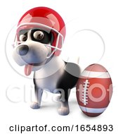 Funny Cartoon Puppy Dog Wearing An American Football Helmet 3d Illustration