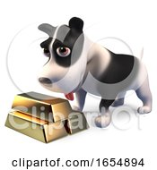 Poster, Art Print Of Rich Puppy Dog With A Stack Of Gold Bullion Ingot Bars 3d Illustration