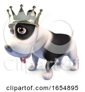 King Puppy Dog Wearing His Royal Gold Crown 3d Illustration