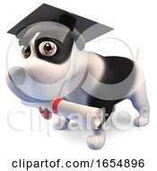Graduate Puppy Dog Wears His Mortar Board And Holds His Diploma Scroll 3d Illustration by Steve Young