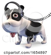 Poster, Art Print Of Music Mad Puppy Dog Listening On His Headphones 3d Illustration