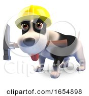 Poster, Art Print Of Construction Worker Puppy Dog With Hammer And Wearing Safety Helmet 3d Illustration