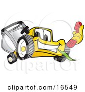Clipart Picture Of A Yellow Lawn Mower Mascot Cartoon Character Holding A Red Telephone