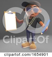 Efficient Black Hiphop Rap Artist Has A Clipboard And Pencil 3d Illustration