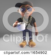 Poster, Art Print Of Thirsty Black Hiphop Rap Artist Drinks A Cup Of Coffee 3d Illustration