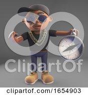 Cartoon Black Rap Hiphop Rap Artist Finds His Way With A Compass 3d Illustration