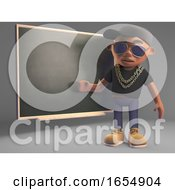 Cartoon Black Hiphop Rapper Teaching At The Blackboard 3d Illustration