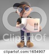 Black Hiphop Rapper In Baseball Cap Delivering A Parcel 3d Illustration