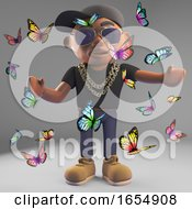 Cartoon Black Rapper Surrounded By A Swarm Of Butterflies 3d Illustration