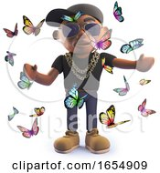 Cool Black African Hiphop Rapper Surrounded By Butterflies 3d Illustration