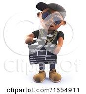 Black Hiphop Rap Artist Character Using A Movie Slate Clapperboard 3d Illustration