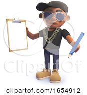 Cartoon Black Hiphop Rapper Holding A Clipboard And Pencil 3d Illustration