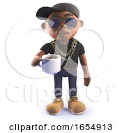 Poster, Art Print Of Cool Cartoon Black Hiphopr Rapper Drinking A Cup Of Coffee 3d Illustration