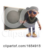 Cool Black Rap Hiphop Artist Teaching At The Blackboard 3d Illustration