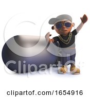 Cartoon Black Hiphop Rapper Standing Next To A Huge Nuclear Bomb 3d Illustration
