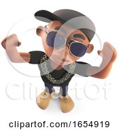 Black African American Hiphop Rapper Cheering With Arms In The Air 3d Illustration
