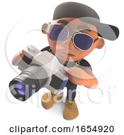 Cool Cartoon Black Hiphop Rapper Taking A Photo With A Camera 3d Illustration
