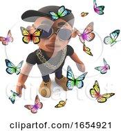 Cartoon Black Hip Hop Rap Artist Surrounded By Butterflies 3d Illustration