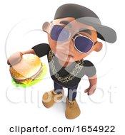 Poster, Art Print Of Cartoon Black Hiphop Rapper Eating A Cheeseburger Snack 3d Illustration