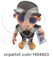 Black Businessman Hiphop Rapper Carrying A Briefcase And Wearing A Bowler 3d Illustration