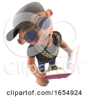 Cool Black African American Hiphop Rapper Reading A Book 3d Illustration