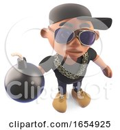 Cartoon Black African American Hiphop Rapper Holding A Bomb 3d Illustration