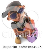 Jazz Double Bass Playing Black Rapper Hiphop Artist 3d Illustration