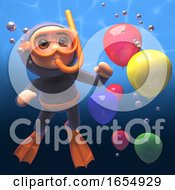 3d Scuba Snorkel Diver Underwater With Party Balloons