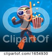 Underwater Scuba Snorkel Diver Eating Popcorn And Wearing 3d Glasses 3d Illustration