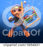 Cartoon Scuba Snorkel Diver With Abacus 3d Illustration
