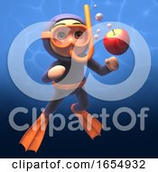 Scuba Diver Wearing Snorkel Watching An Apple In The Water 3d Illustration