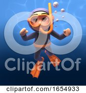 Underwater Scuba Snorkel Diver 3d Illustration