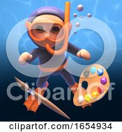 Poster, Art Print Of 3d Scuba Snorkel Diver With Paintbrush And Palette