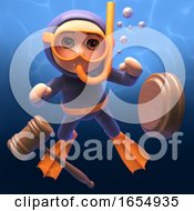 Cartoon Scuba Snorkel Diver With Auction Gavel 3d Illustration