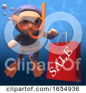 3d Cartoon Scuba Snorkel Diver With Sale Shopping Bag