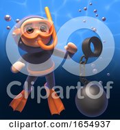 Cartoon 3d Scuba Diver Watching A Ball And Chain Sink