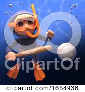 Underwater Scuba Snorkel Diver With Baseball Bat And Ball 3d Illustration