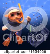 Snorkel Diver Discovers Shopping Basket In Ocean 3d Illustration