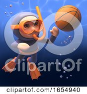 Basketball Playing Scuba Snorkel Diver 3d Illustration