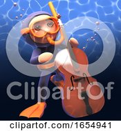 Snorkel Diver Playing Double Bass Under The Ocean 3d Illustration