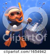 Cartoon Snorkel Diver Playing The Drums Under The Sea 3d Illustration
