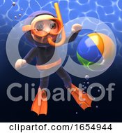 Beachball Floats To The Surface Before The Scuba Snorkel Diver 3d Illustration
