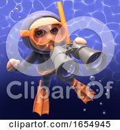 Snorkel Diver Slyly Looks Through His Underwater Binoculars 3d Illustration
