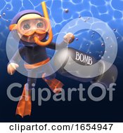 Scuba Diver Discovers Unexploded Bomb Under The Sea 3d Illustration