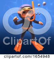 Waving 3d Scuba Snorkel Diver Under The Sea